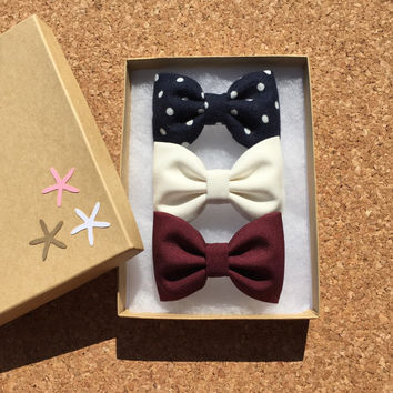 Navy flannel dot, off white, and burgundy hair bow set from Seaside Sparrow Bows. Hair bows for girls hair accessory, gift for her hair