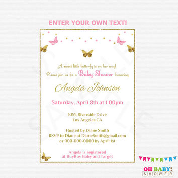 Butterfly Baby Shower Invitation Girl, Pink and Gold Baby Shower Invitation, Editable Invites, Printable Invites, Instant Download, BTFPG