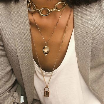 Lock Pendant Layered Chain Necklace 1pc