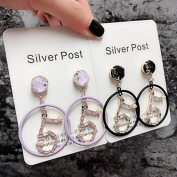 Fashion new personality diamond pearl number 5 round circle earrings women pendant earrings two color