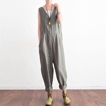 Johnature Sleeveless Bodysuits V-Neck Fashion Women Clothes 2017 Summer New Casual Striped Loose Jumpsuits Linen High Waist