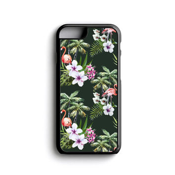 iPhone Case Tropical Flamingo Palm Trees Floral For iPhone 4, iPhone 5, iPhone 5c, iPhone 6, iPhone 6 Plus with FREE iPhone Tempered Glass*