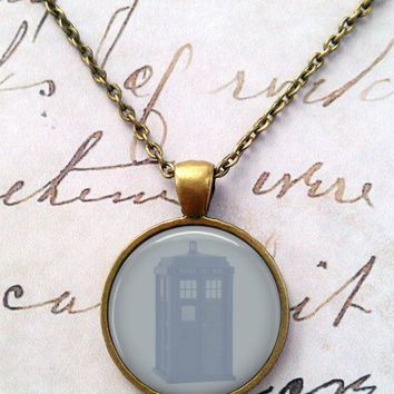 Doctor Who Necklace,Tardis, Police Box, Dr Who, Dalek, Gallifreyan, Spacey Wacey, Timey Wimey, Blue T330
