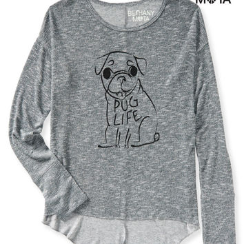 Aeropostale  Womens Long Sleeve Pug Life Hi-Lo Knit Top
