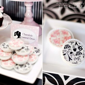 1 Dozen Paris and Pink Damask Set Chocolate Covered Oreos Birthday Party Favor
