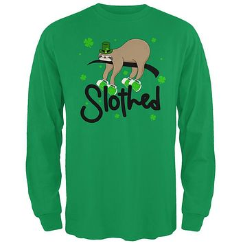 St. Patrick's Day Slothed Sloth Sloshed Drinking Mens Long Sleeve T Shirt