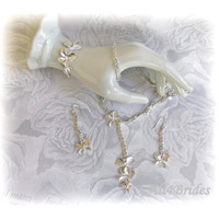 Orchid Flower Jewelry Set, Orchid Lariat Necklace,  Orchid Dangle Earrings, Orchid Bracelet,  Flower Jewelry Gifts for Her