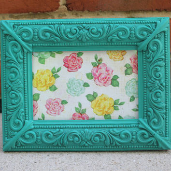Antique looking turquoise 4 x 6 picture frame hand-painted in Annie Sloan Florence chalk paint
