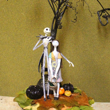 Jack and Sally Spooky Tree Cake Topper