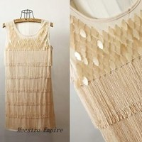 Deco Classic Gatsby 1920s Style Vintage Look Fringe Flapper Beige Black Dress