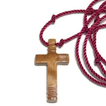 Cross Necklace - Wooden Cross - Handmade Mens Cross Necklace - Curly Maple - Jewelry for Guys