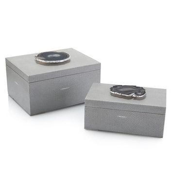 Shagreen and Geode 2 Piece Decorative Box Set