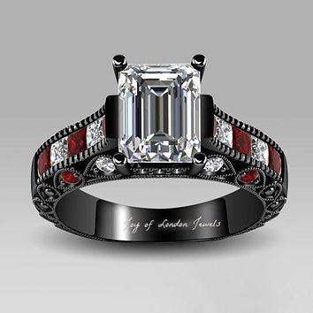 The Talbot, A Perfect Black Stainless 1.8CT Emerald Cut Russian Lab Diamond & Ruby Ring