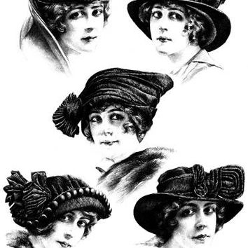 1920s flapper girls wearing hats clipart png clip art Digital Image Download graphics transparent images digi stamp digital stamp printable