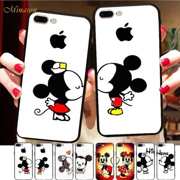 Minason Cartoon Minnie Mickey Mouse Cases For iPhone X Case Silicone Cover Matching Couple Case For iPhone 6 6S 7 8 Plus 5S SE