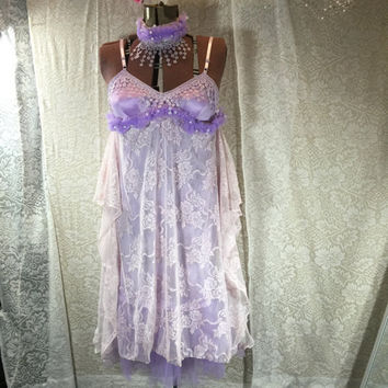 Bohemian Dress Shabby Chic / Purple Prom Dress / M-L Eco friendly Slip Dress / Tattered Lace Wedding Beach Dress by Tattered FX