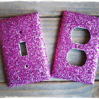 Pink Glitter Single Light Switch and Outlet Cover Set