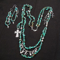 Southwestern Turquoise Sterling Zuni Cross Kachina Charm Double Strand Necklace and Sterling Chandelier Earrings Set