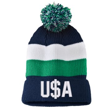 u$a USA Striped Beanie with Removable Pom
