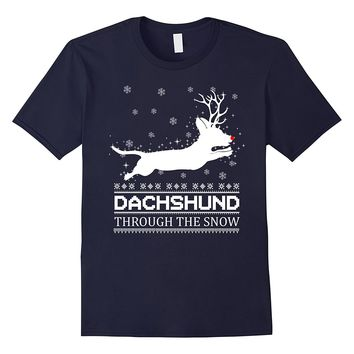 Dachshund Through The Snow T Shirt Lover Daschund Christmas