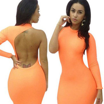 Orange One Sleeve Backless Midi Bodycon Dress