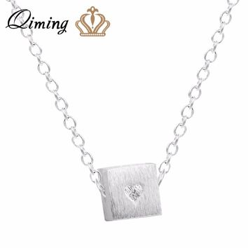 QIMING Love Jewelry Silver Love Heart Cube Necklace For Girls Pendant Chain Choker Necklace Jewelry Collar Colar de Plata