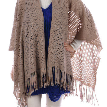 Brown Crochet Knit Ruana Fringe Poncho