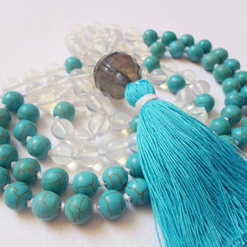 Yoga 108 Beads Mala, Gemstone Mala necklace, Hand Knotted Mala, Mantra Meditation Beads, Spiritual Healing Zen jewelry, Blue Tassel necklace
