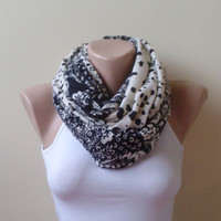 Ivory black Infinity scarf  circle scarf loop scarf gift modern woman gift unique printed floral jarsey cotton knitwear