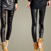 Vixen Boutique — Faux Leather Ripped Leggings