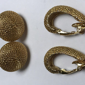 Set of Two Baroque Vintage Earrings / NAPIER Signed Round Screw Back / TRIFARI Signed Clip Ons / Rope Textured Gold Tone Costume Jewelry