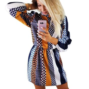 Bohemian Printed Dresses Womens Turtleneck Long Sleeve Robes Casual Loose Tunic Dresses Pattern Vestidos SJ459U