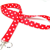 Fabric Lanyard - ID Badge and Key Ring - Red with White Polka Dots