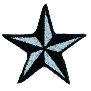 White Nautical Star Patch Iron on Applique Alternative Clothing Tattoo Rockabilly