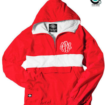 CUSTOM Monogram Striped Pullover Jacket -- Greek (Sorority or Fraternity) Letters or Initials!
