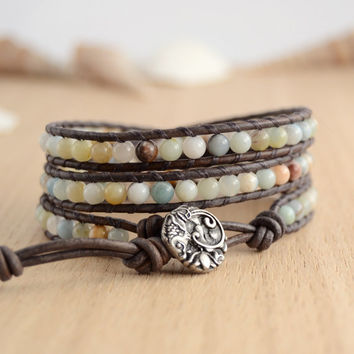 Skinny pastel bracelet. Triple wrap bracelet. Boho beach sealife jewelry