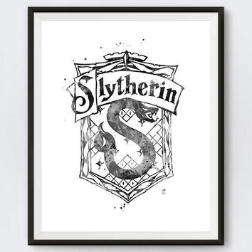 Slytherin Crest Black and White Harry Potter Art Gifts Hogwarts Dobby Niffler illustration Slytherin House Art Print instant Download
