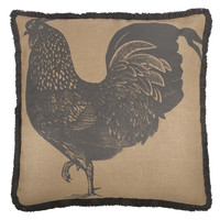 "Rooster 26"" Jute Pillow in Charcoal design by Thomas Paul"