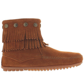 Minnetonka Double Fringe Side Zipper - Brown Suede Fringe Bootie