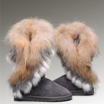 CREYONV UGG Fox Fur Tall Boots 8688 Grey Popular