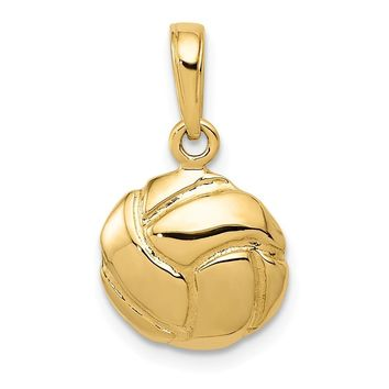 14k Yellow Gold Volleyball Pendant, 11mm