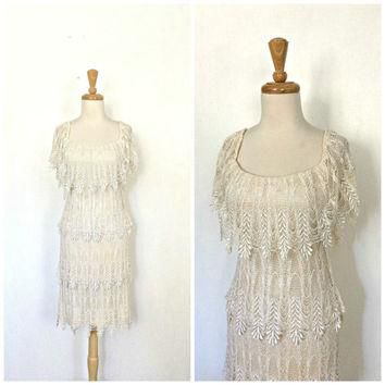 Vintage Crochet Dress - fringe dress - cocktail dress - wiggle - bombshell - Lee Jor