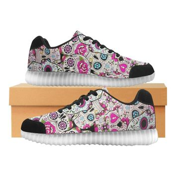 Sugar Skull Design 2 Light Up Casual Women's Shoes