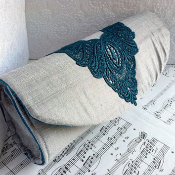 Gray clutch, silk formal clutch purse with teal lace applique, silver clutch bag