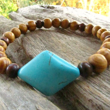 Men's Turquoise Howlite Diamond Shape Stone & Wooden Beaded Bracelet / Hippie Rock Hipster Alternative Stretchy Wristband/ Men's Jewelry