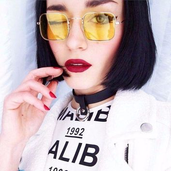 Retro color pop square small sunglasses