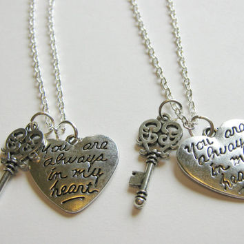 2 You Are Always In My Heart Key Best Friends BFF Sisters Couples Necklaces