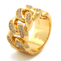 King Ice 14K Gold Curb Chain Style Ring