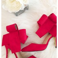 Bradshaw bow heels - Red bow high heels with above the ankle closure.