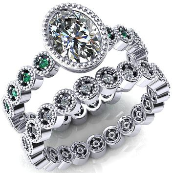 Borea Oval Moissanite Full Bezel Milgrain Emerald Accent Full Eternity Ring